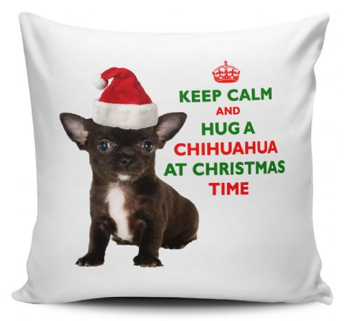 Christmas Keep Calm And Hug A Chihuahua (Black) Novelty Cushion Cover